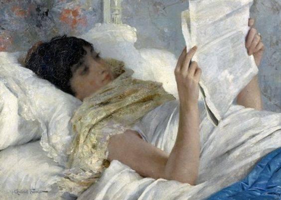 """(Illustration: Gabriel Ferrier, 1847-1914, """"Femme au lit, lisant le journal"""")"""