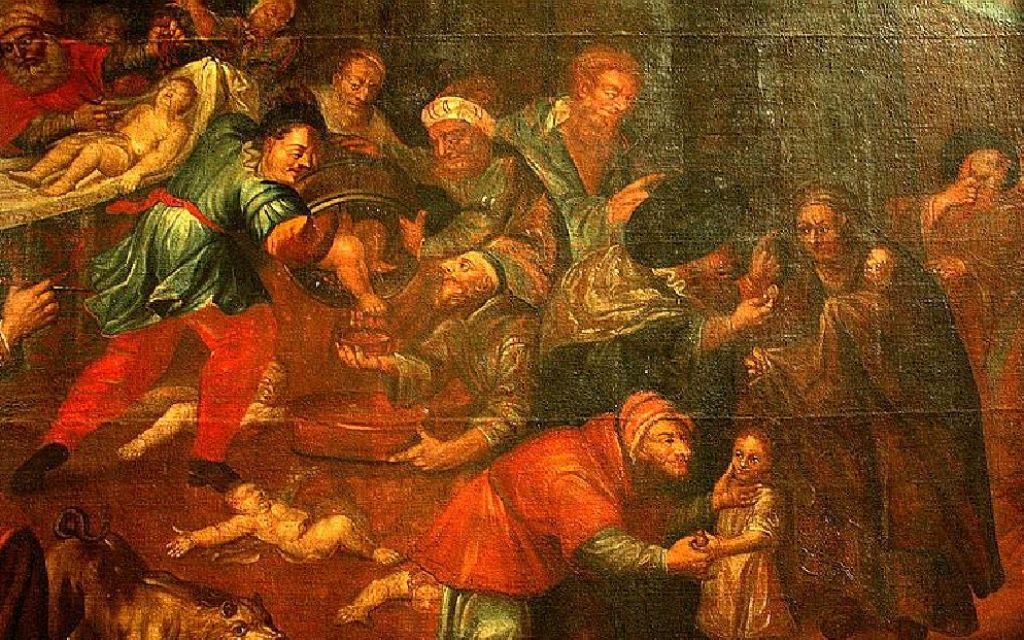 Ce tableau toujours accroché dans la cathédrale de Sandomierz (Pologne), montre des Juifs tuant des enfants chrétiens pour leur sang.