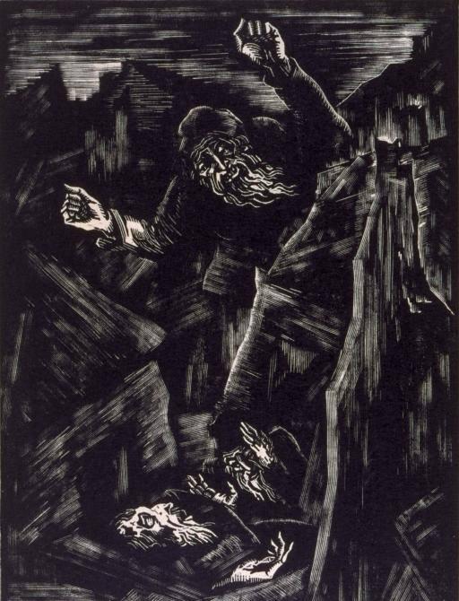 """Joseph Budko """"Dans la ville du massacre"""", 1923, xylographie sur papier japon"""