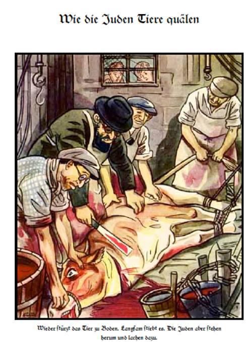 """""""Comment les Juifs torturent les animaux"""", dans le livre pour enfants """"Der Giftpilz"""" (1938)."""