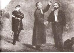 Gaston Crémieux et le rabbin Vidal le jour de l'exécution, au pharo, le 30 novembre 1871 (Musée du vieux Marseille)