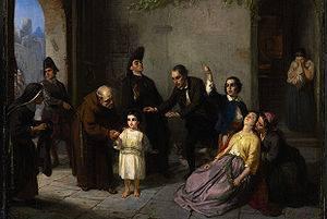 Le rapt d'Edgardo Mortara peint en 1862 par le peintre Moritz-Daniel Oppenheim